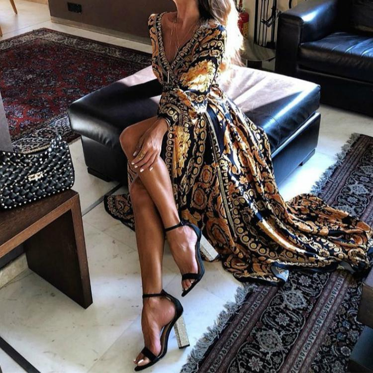 Early Spring Long Sleeve V-Neck Print Maxi Dress herhershoes