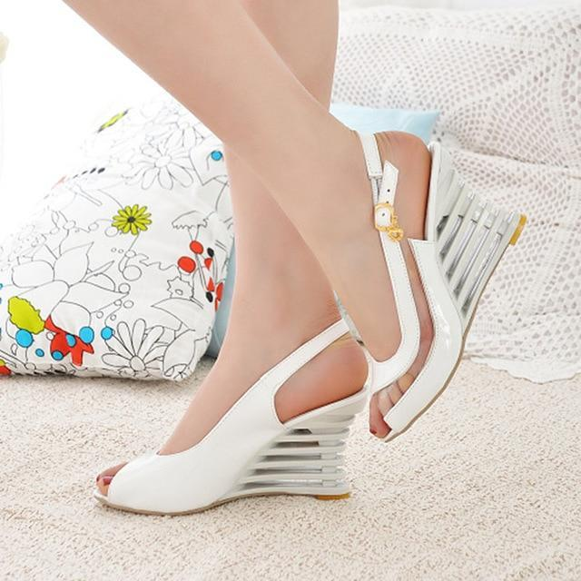 Patent Leather Peep Toe Wedge Sandals herhershoes