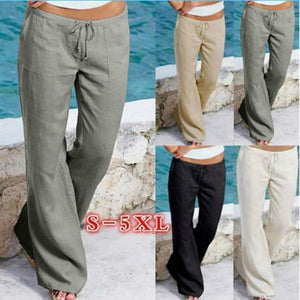 Plus Size Loose Cotton Drawstring Pants With Pockets herhershoes