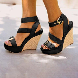 Women Platform Open Toe Wedge Sandals Casual Comfort Adjustable Buckle Shoes herhershoes