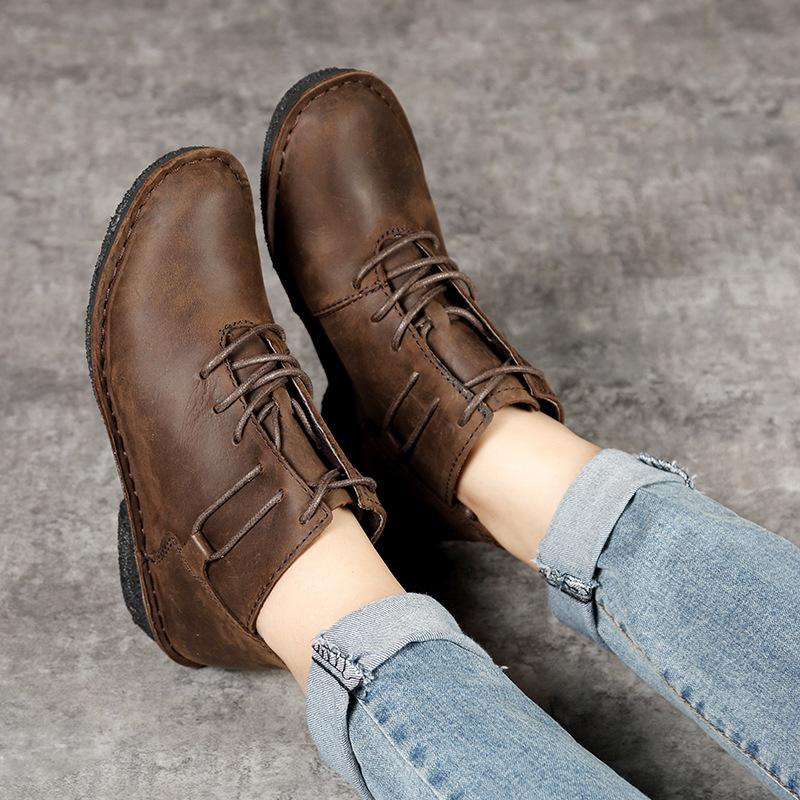 Non-slip Soft Low Heel Lace Up Genuine Leather Ankle Boots herhershoes