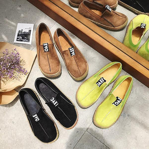 Suede Pure Color Slip On Stitching Flat Soft Shoes For Women herhershoes