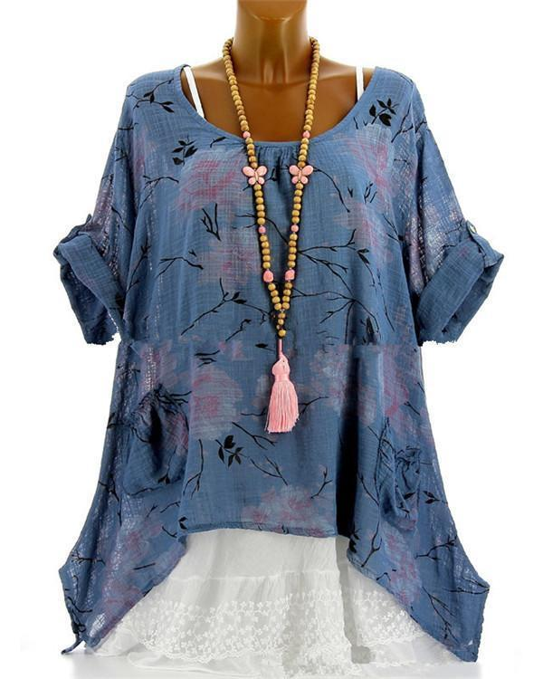 Casual Printed Crew Neck Short Sleeve Women Blouse herhershoes