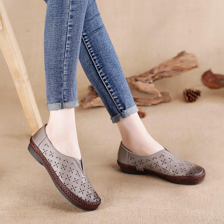 Hollow Weave Slip on Loafers Handmade Leather Shoes herhershoes