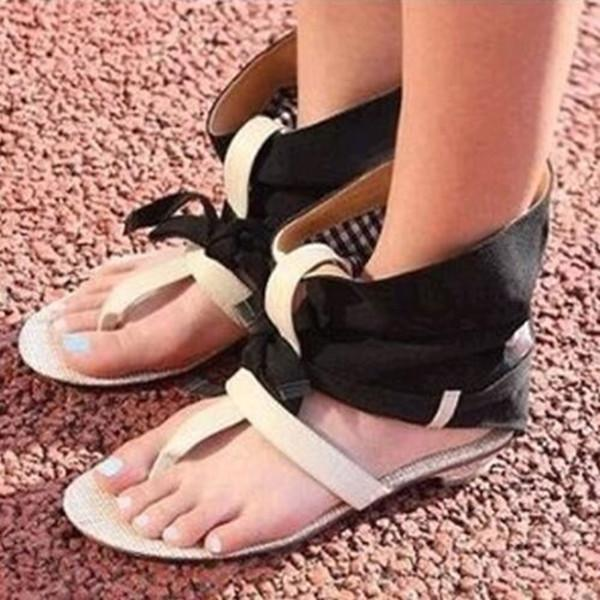 Pop Nice Summer Shoes Women Gladiator Lacing Grid Cloth Flat Sandals herhershoes