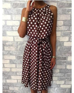 Casual Crew Neck Polka Dot Sleeveless Plus Size Dress herhershoes