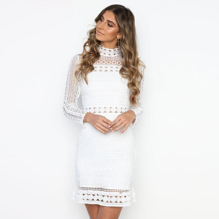 Long Sleeve Lace Detail Dress herhershoes