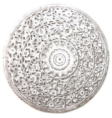 Mandala Round Carved Wood Whitewash
