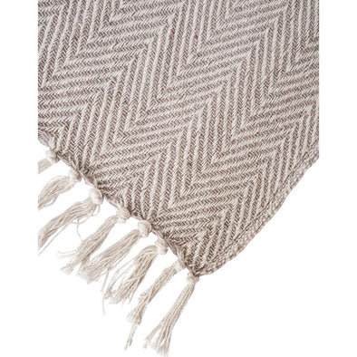 Throw Zig Zag Grey/Natural With Fringe