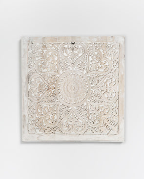 Temple Carved Wooden Panel White Med - Sale
