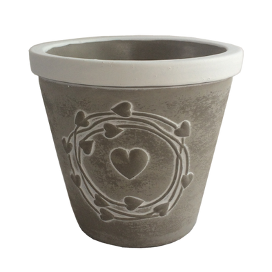 Pot Circle Heart Concrete 12cm
