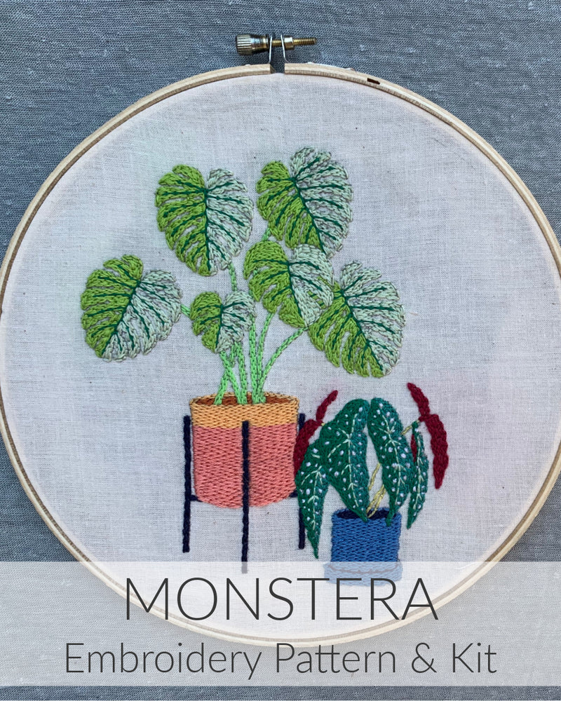 Monstera Embroidery Pattern & Kit