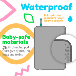 Toolik Baby Diaper Changing Pad, Portable and Foldable Large Waterproof Mat, Grey