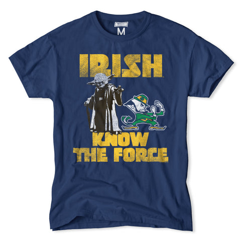 Notre dame star wars yoda t shirt by tailgate for Notre dame tee shirts