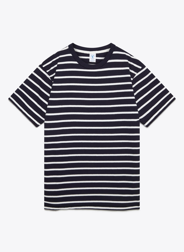 Uneven Border Striped Tee - Navy / White
