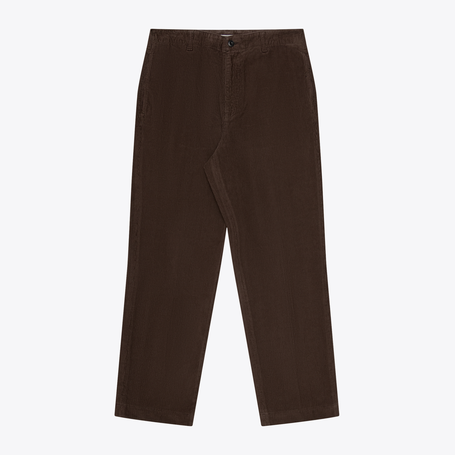 CORDUROY FLAT FRONTED TAPERED TROUSER - DARK HAZEL