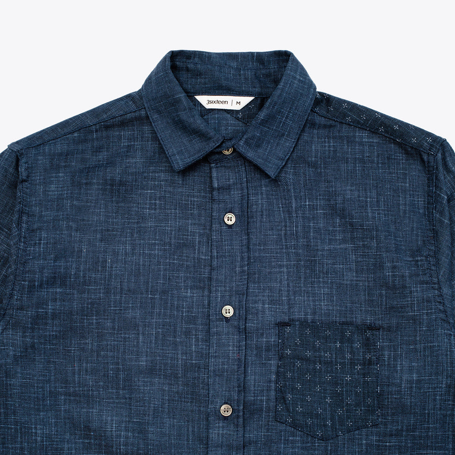 INDIGO BLOCK BUTTON DOWN SHIRT