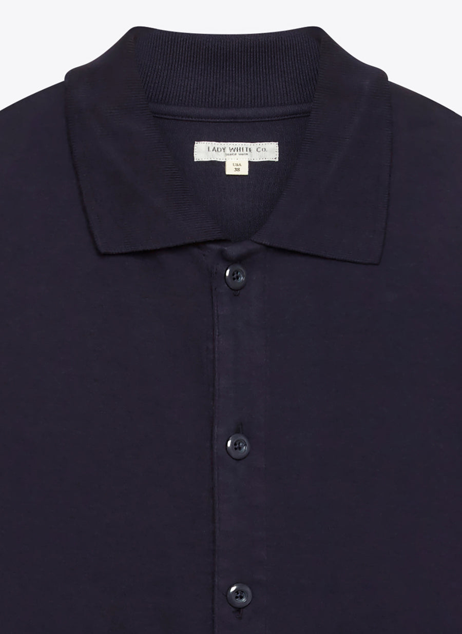 Lady White Co. Long Sleeve Placket Polo - Navy - The Great Divide