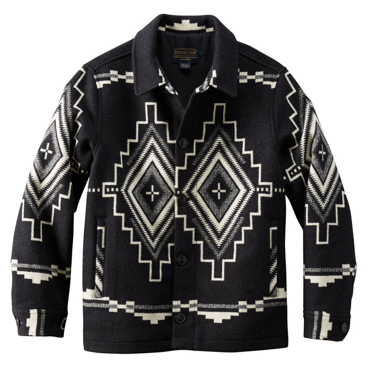 Button Front Jacquard Jacket - Black Mesa