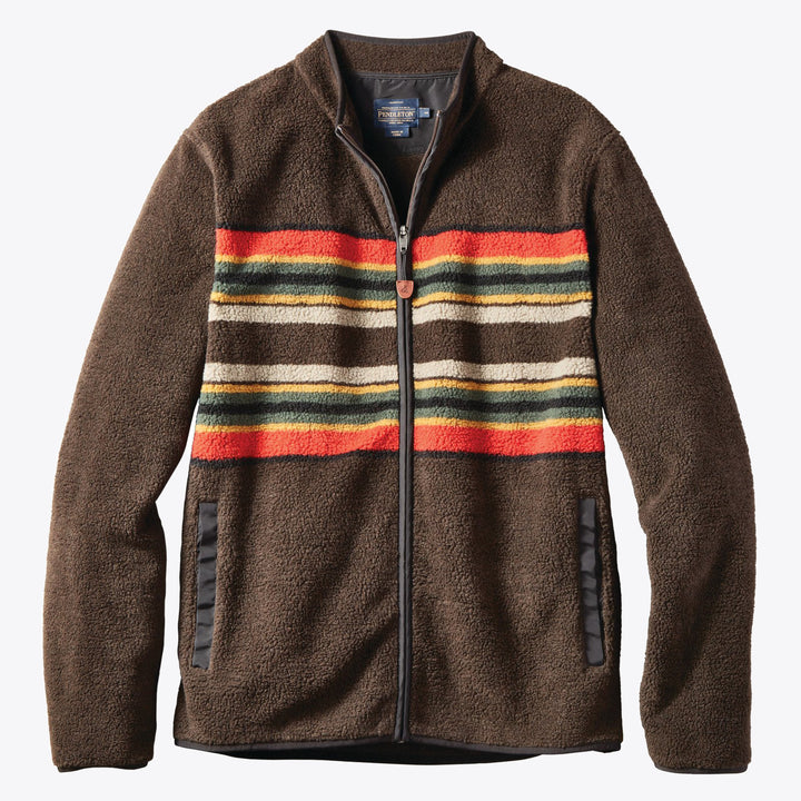 Camp Stripe Fleece Jacket - Brown