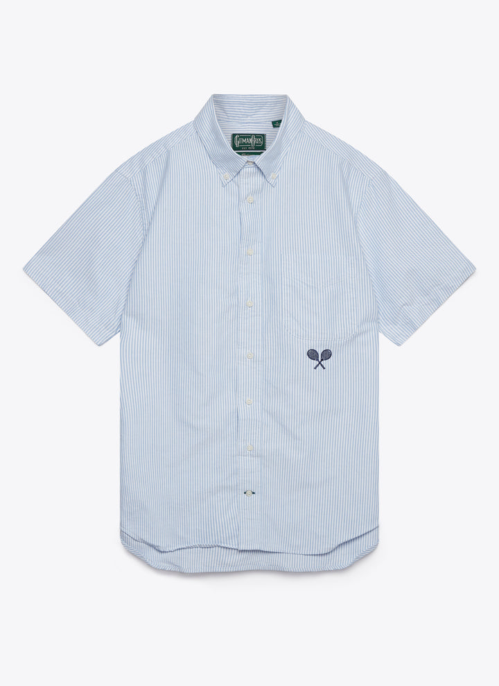 Blue Stripe Oxford with Racquet Monogram