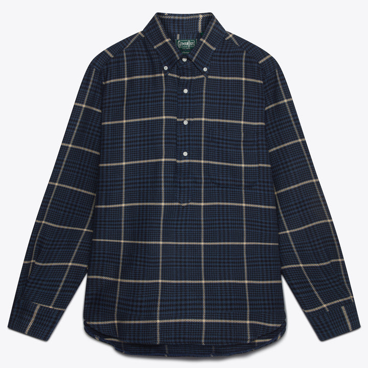 Navy Cotton Houndstooth Tweed Popover Shirt