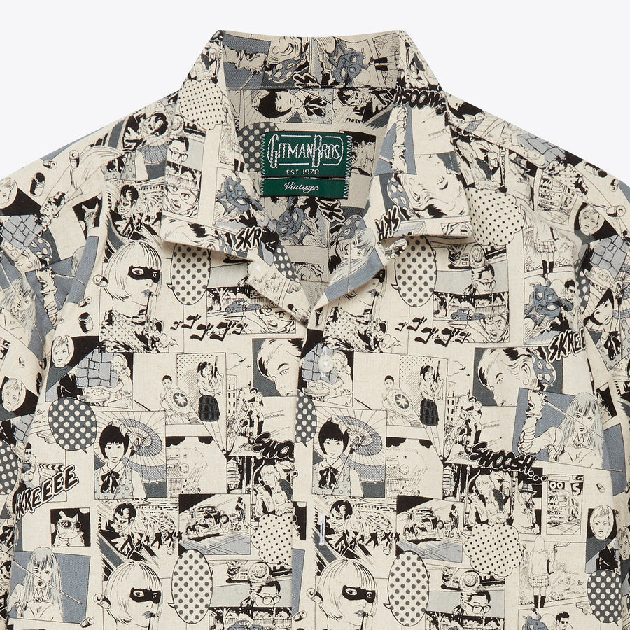 Gitman Vintage Grey Anime Camp Shirt - The Great Divide