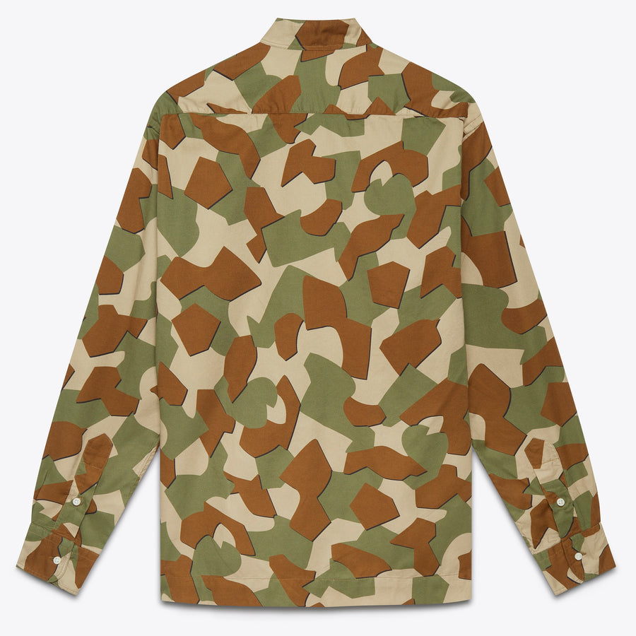 Peruvian Geometric Camo Grandad Collared Shirt