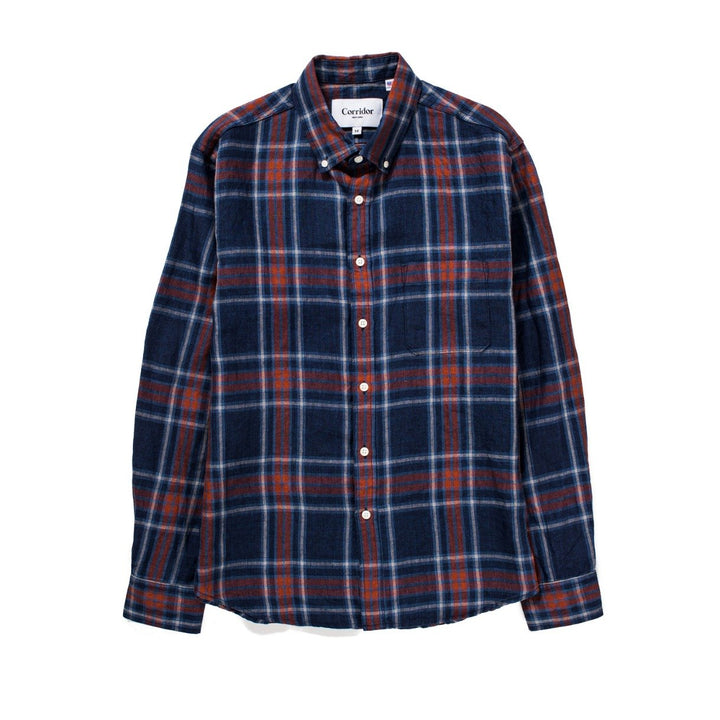 Corridor Indigo Blue Red Plaid LS Shirt - The Great Divide