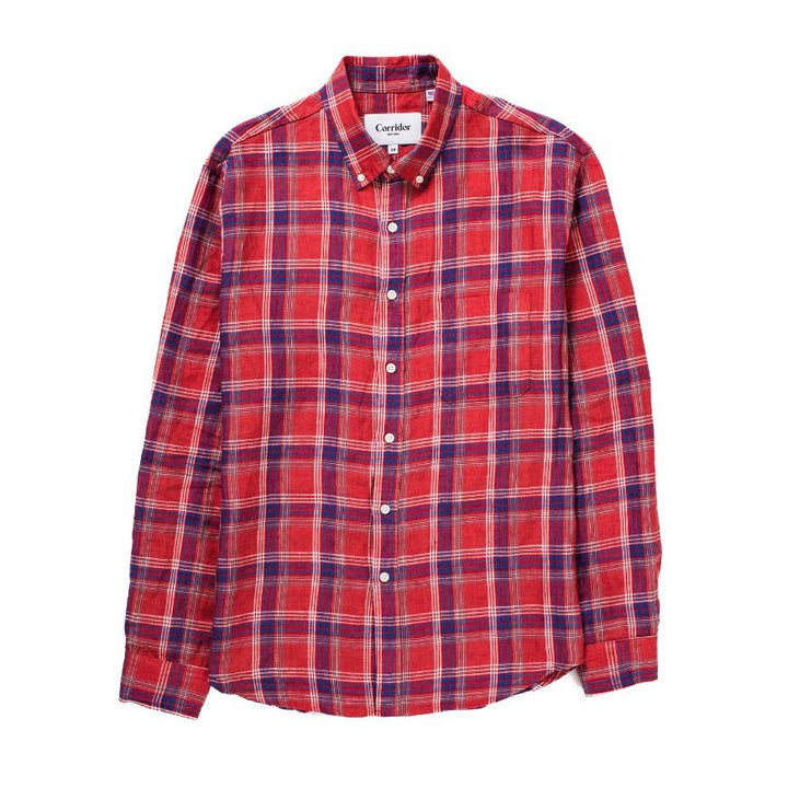 Corridor Summer Red Plaid LS Shirt - The Great Divide - Free Delivery