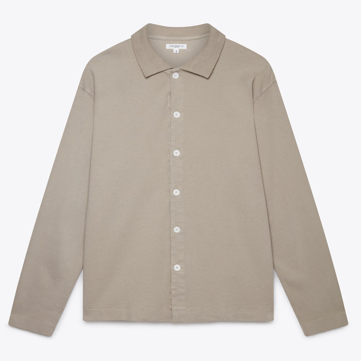 Long Sleeve Placket Polo - Taupe Fog