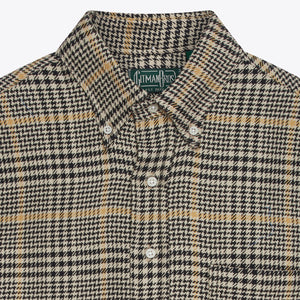 Black Cotton Houndstooth Tweed Popover Shirt