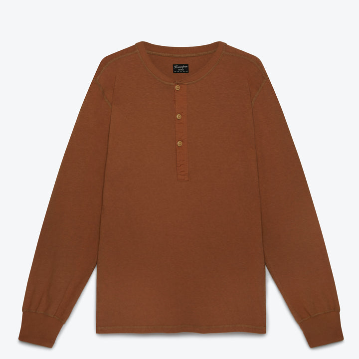 Homespun Knitwear Coalminer Henley - Tobacco - The Great Divide