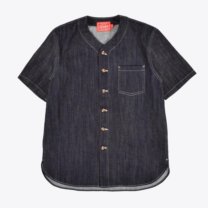 Short Sleeve Batting Shirt - Denim