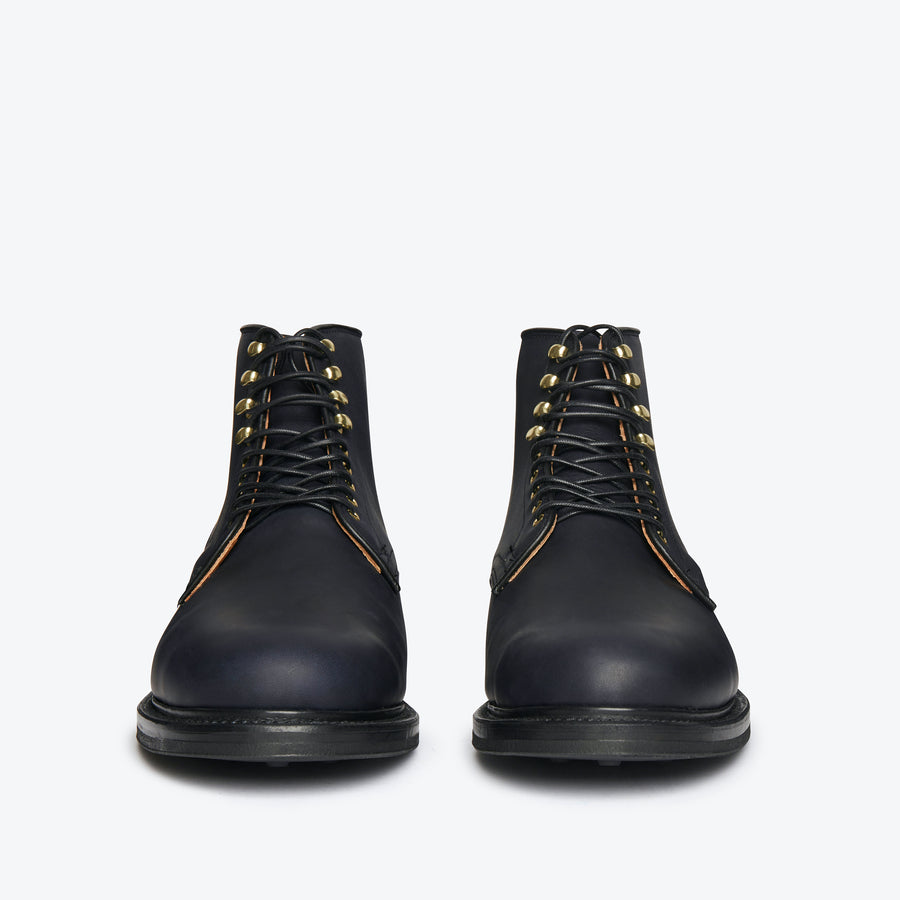 Derby Boot - Navy Oiled Calf