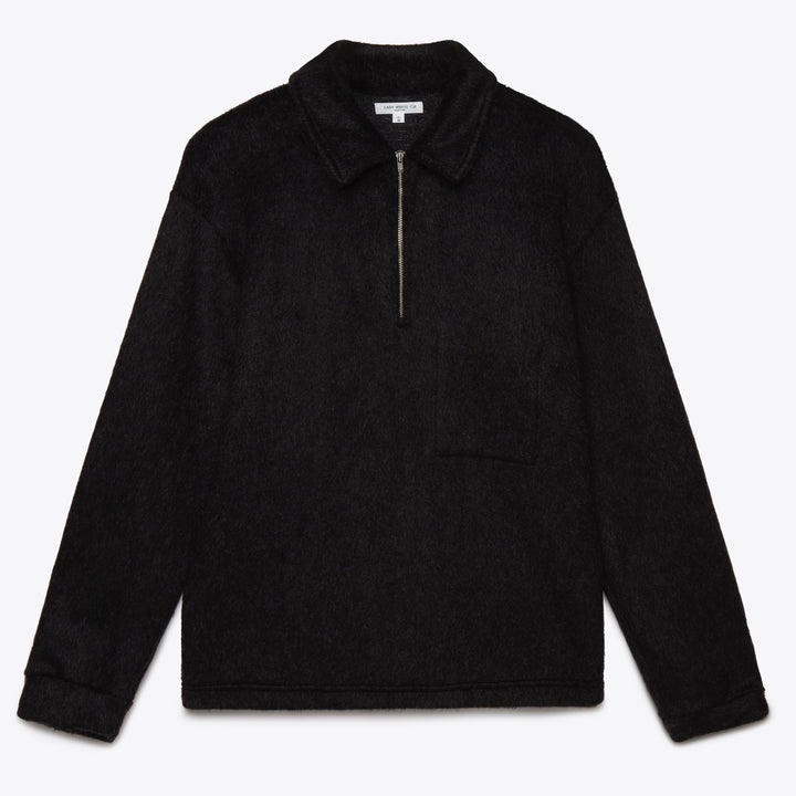 Furry 1/4 Zip Pocket Sweater - Black