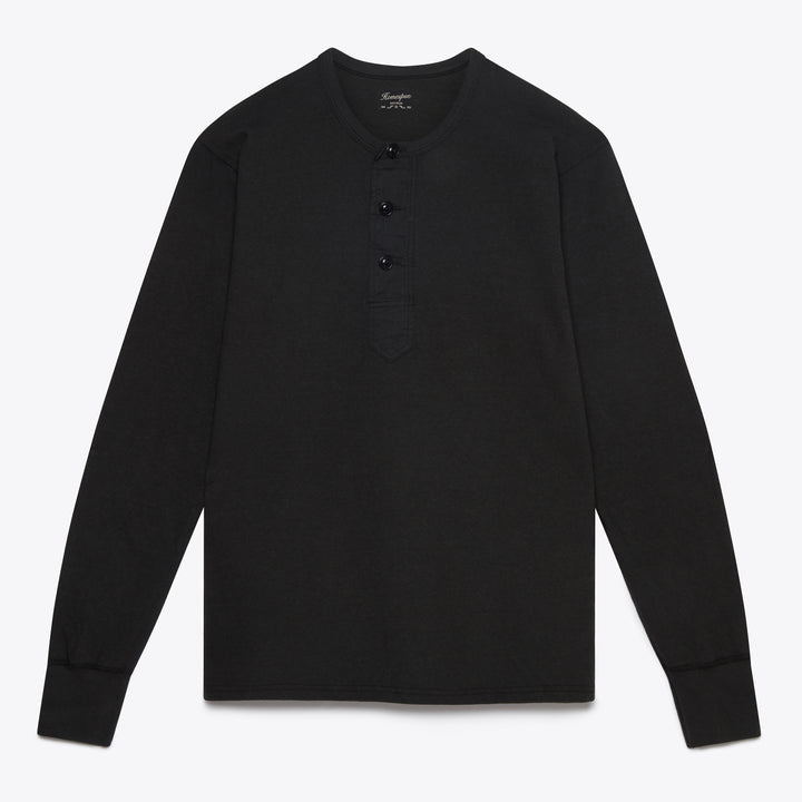 Homespun Knitwear Surplus Henley - Aged Black - The Great Divide