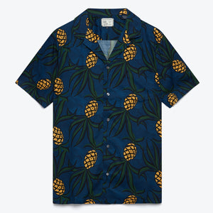Whacky Pineapple Camp Shirt - Dress Blue