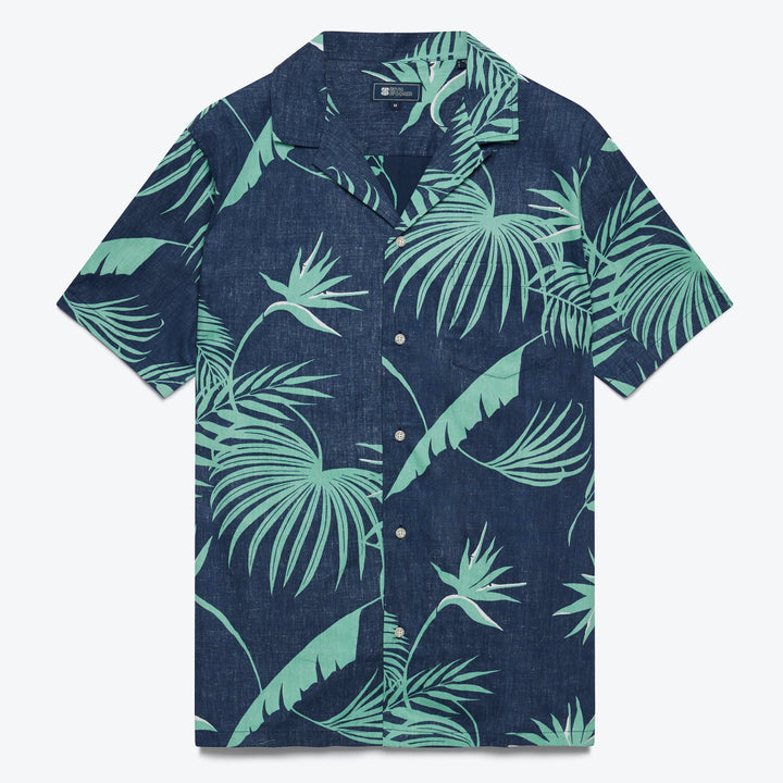 South Pacific Palms Camp Shirt - Dress Blue