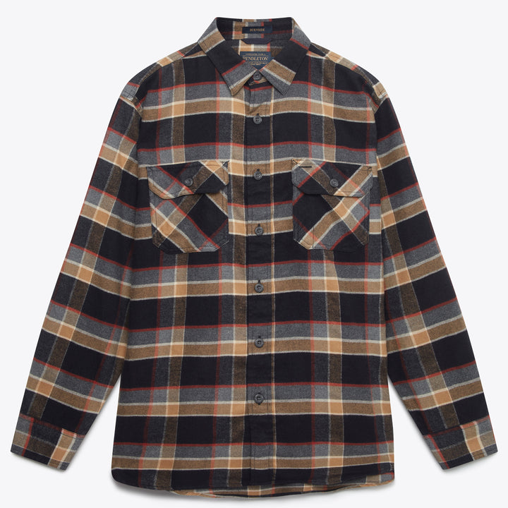 Burnside Flannel Shirt - Black/Grey/Red Plaid