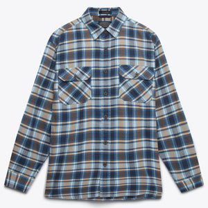 Burnside Flannel Shirt - Blue/Navy/Brown Plaid