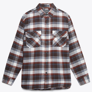 Burnside Flannel Shirt - Red/Brown/Navy Plaid