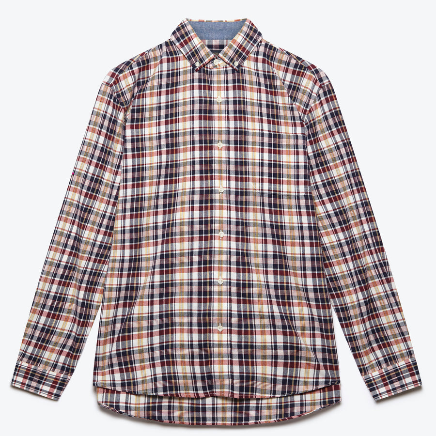 Long Sleeve Madras Shirt - Navy / White / Red Plaid