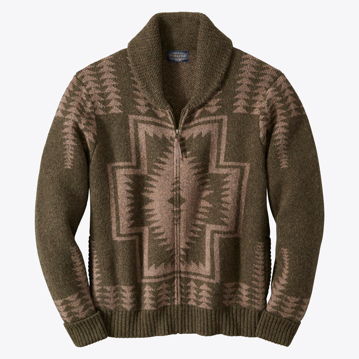 Pendleton Harding Zip Cardigan - Green/Brown - The Great Divide
