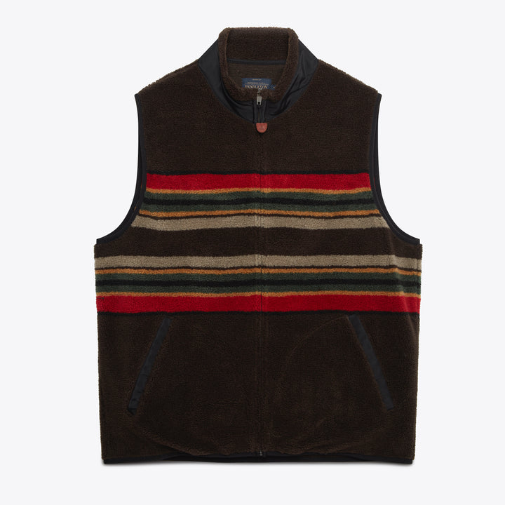 Camp Stripe Fleece Vest - Brown