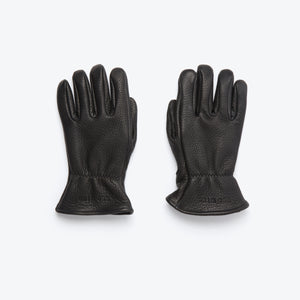 Buckskin Leather Lined Gloves - Black