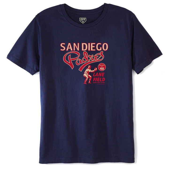 Ebbets Field Flannels San Diego Padres 1948 T-Shirt - The Great Divide