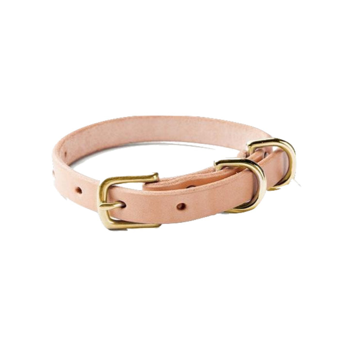 Narrow Canine Collar - Natural / Brass