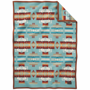 Pendleton Chief Joseph Muchacho Blanket - Aqua - The Great Divide