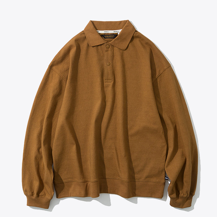 Collar Long Sleeve Polo - Brown